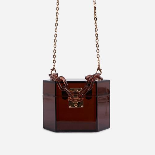 Robbie Cross Body Box Bag In Brown Perspex