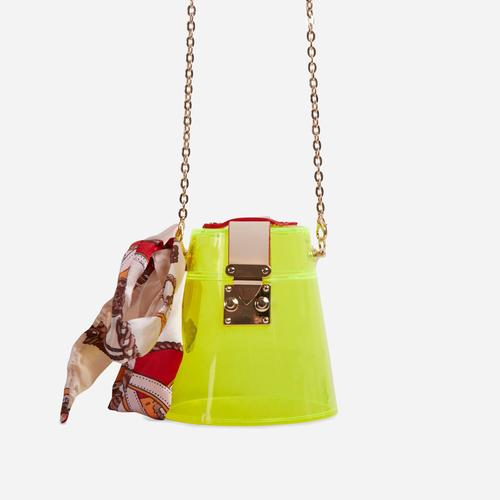 Tyra Logo Detail Hoop Handle Bag In Lime Green Perspex