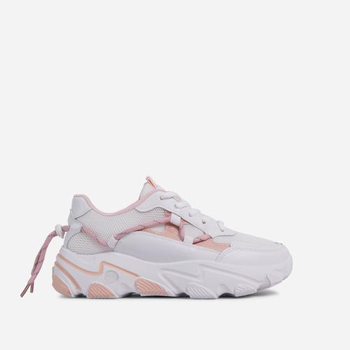 Scottie Lace Up Mesh Chunky Sole Trainer In White And Pink