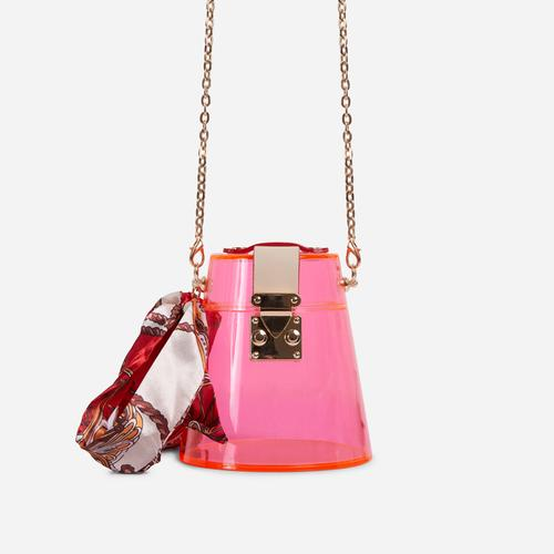 Tyra Logo Detail Hoop Handle Bag In Pink Perspex
