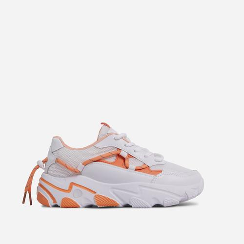 Scottie Lace Up Mesh Chunky Sole Trainer In White And Orange