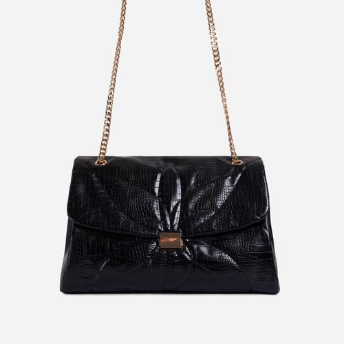 Liquor Chain Handle Detail Oversized Shoulder Bag In Black Croc Print Faux Leather