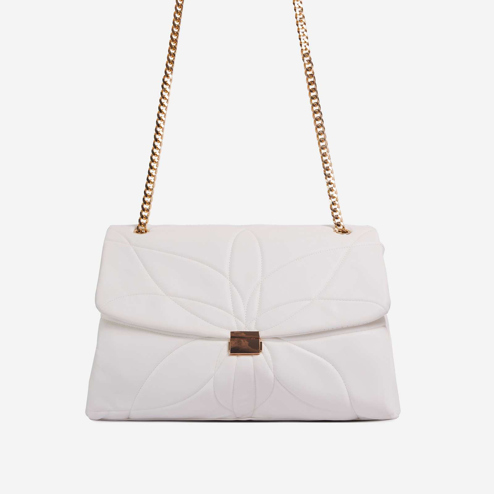 Liquor Chain Handle Detail Oversized Shoulder Bag In White Faux Leather