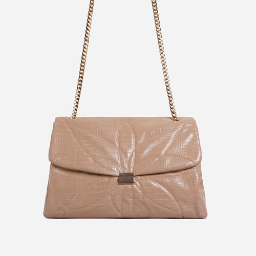 Liquor Chain Handle Detail Oversized Shoulder Bag In Nude Croc Print Faux Leather
