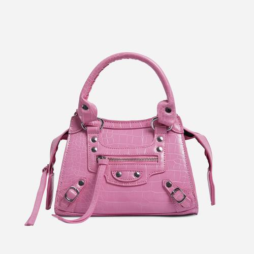 Roddy Mini City Tote Bag In Pink Croc Print Faux Leather