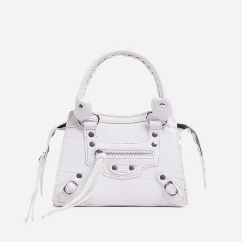 Roddy Mini City Tote Bag In White Croc Print Faux Leather