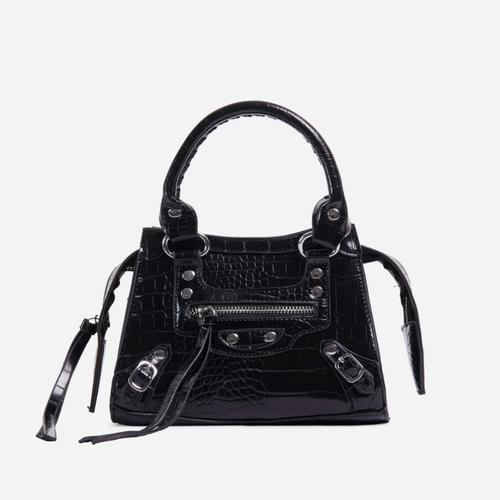 Roddy Mini City Tote Bag In Black Croc Print Faux Leather