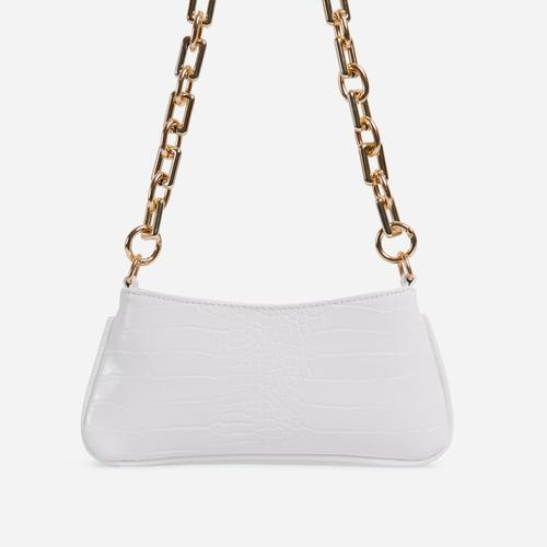 Harris Chucky Chain Baguette Bag In White Croc Print Faux Leather