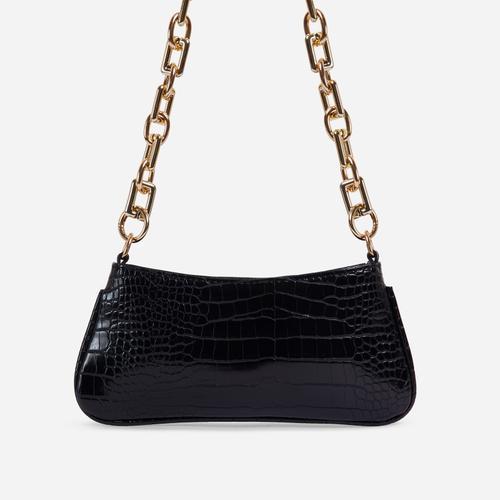 Harris Chucky Chain Baguette Bag In Black Croc Print Faux Leather