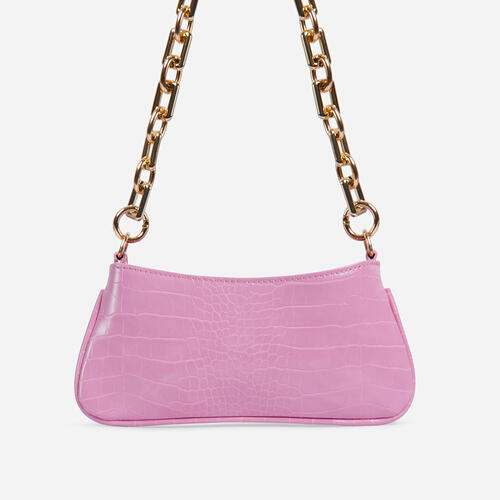 Harris Chucky Chain Baguette Bag In Pink Croc Print Faux Leather