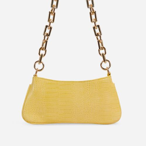 Harris Chucky Chain Baguette Bag In Yellow Croc Print Faux Leather