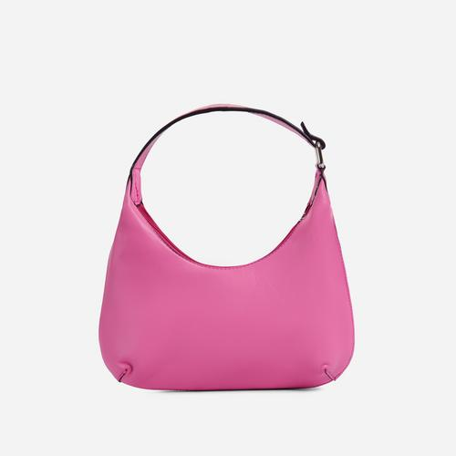 Bayliss Mini Curved Shoulder Bag In Pink Faux Leather
