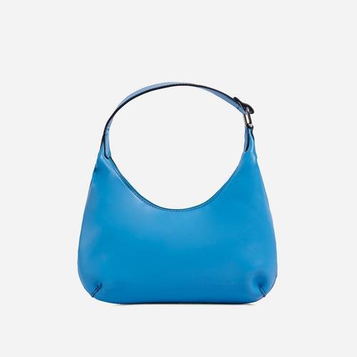 Bayliss Mini Curved Shoulder Bag In Blue Faux Leather