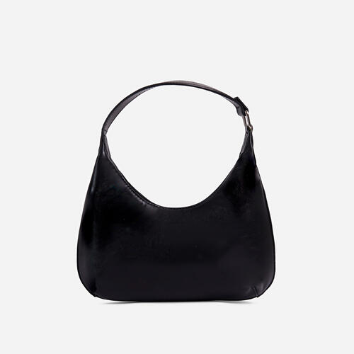 Bayliss Mini Curved Shoulder Bag In Black Faux Leather
