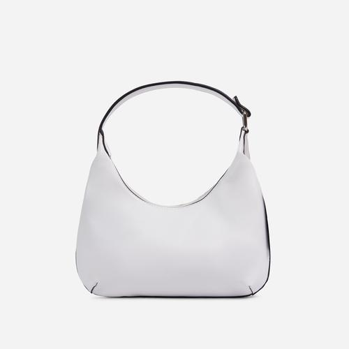Bayliss Mini Curved Shoulder Bag In White Faux Leather