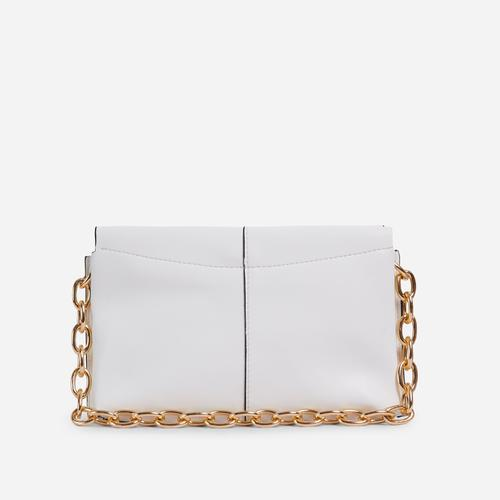 Petal Chain Strap Padded Shoulder Bag In White Faux Leather