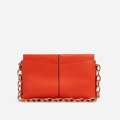 Petal Chain Strap Padded Shoulder Bag In Orange Faux Leather
