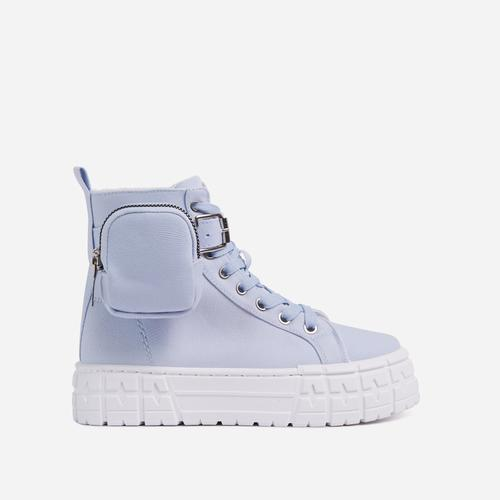 Lamelo Pocket Detail Lace Up Chunky Sole Hi Top Trainers In Blue