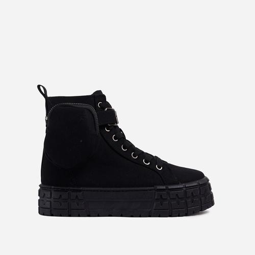 Lamelo Pocket Detail Lace Up Chunky Sole Hi Top Trainers In Black