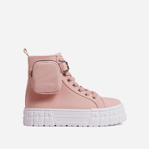 Lamelo Pocket Detail Lace Up Chunky Sole Hi Top Trainers In Pink