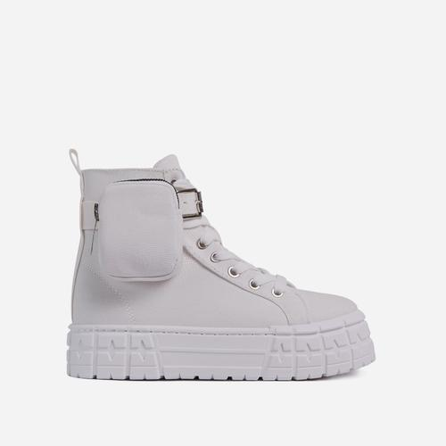 Lamelo Pocket Detail Lace Up Chunky Sole Hi Top Trainers In White