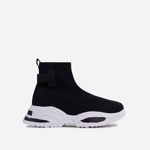 Davis Chunky Sole Sock Trainer In Black Knit