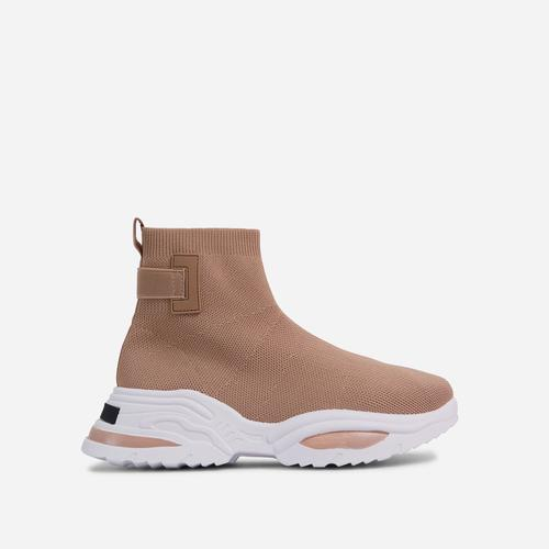 Davis Chunky Sole Sock Trainer In Khaki Brown Knit
