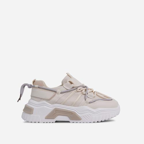 Barkley Lace Up Mesh Chunky Sole Trainer In Nude