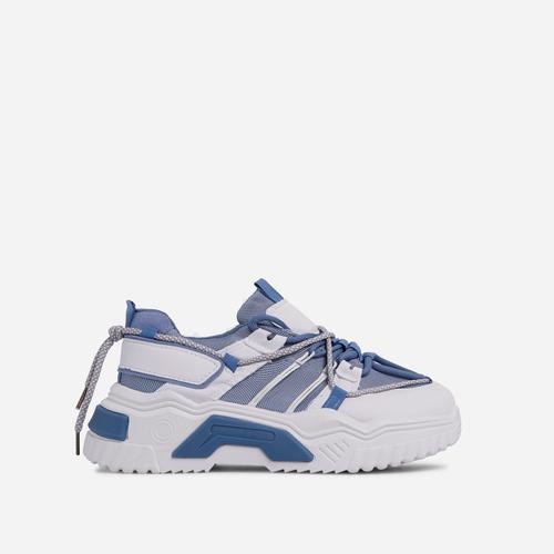 Barkley Lace Up Mesh Chunky Sole Trainer In Blue
