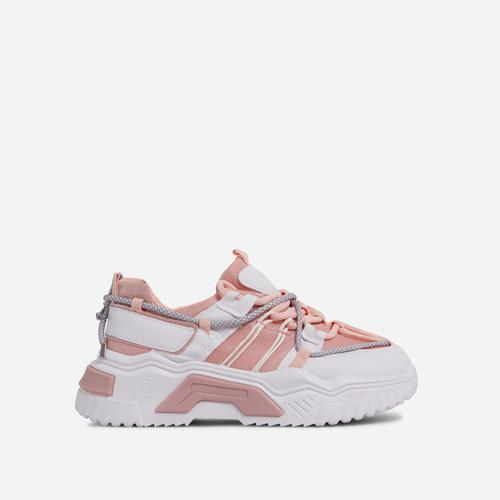 Barkley Lace Up Mesh Chunky Sole Trainer In Pink