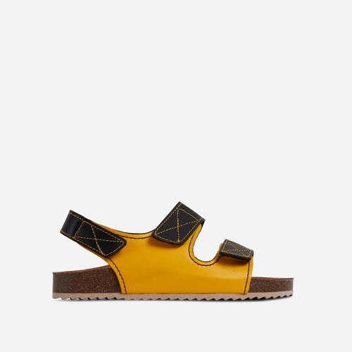Cutest Double Strap Flat Dad Sandal In Yellow Faux Leather