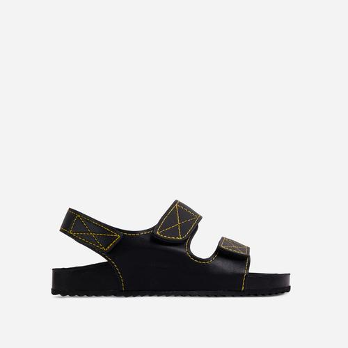 Cutest Double Strap Flat Dad Sandal In Black Faux Leather
