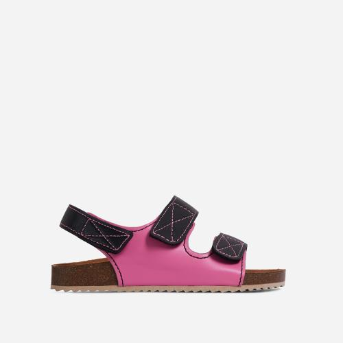 Cutest Double Strap Flat Dad Sandal In Pink Faux Leather
