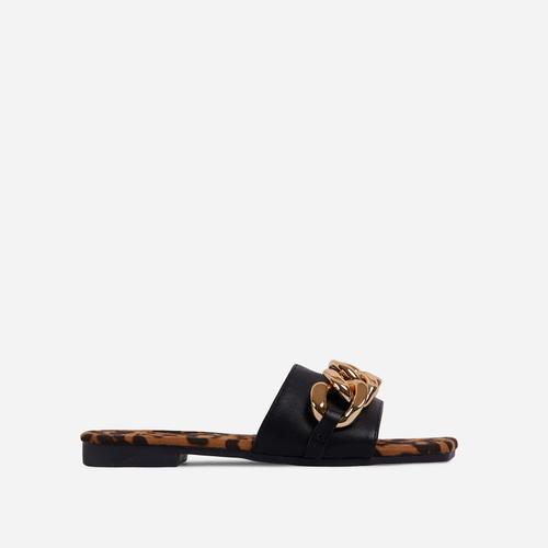 Resorty Chain Detail Leopard Print Sole Flat Slider Sandal In Black Faux Leather