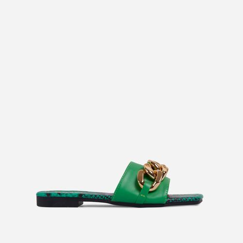 Resorty Chain Detail Snake Print Sole Flat Slider Sandal In Green Faux Leather