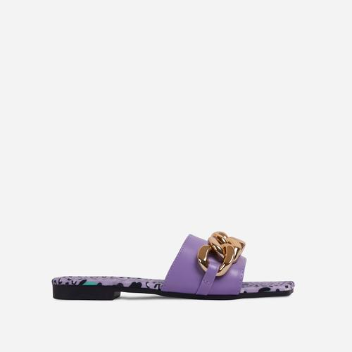 Resorty Chain Detail Leopard Print Sole Flat Slider Sandal In Lilac Faux Leather