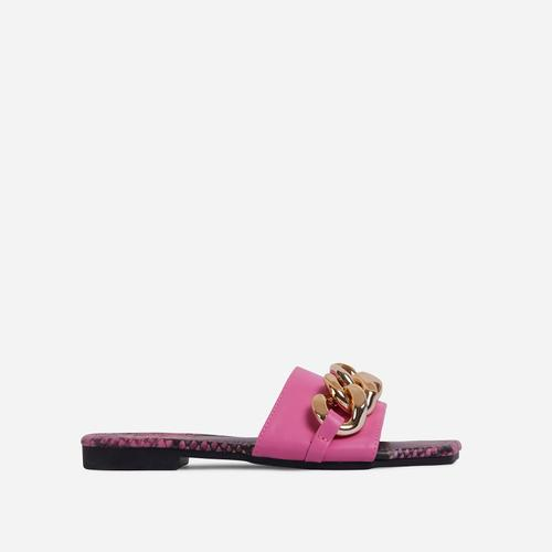 Resorty Chain Detail Snake Print Sole Flat Slider Sandal In Pink Faux Leather