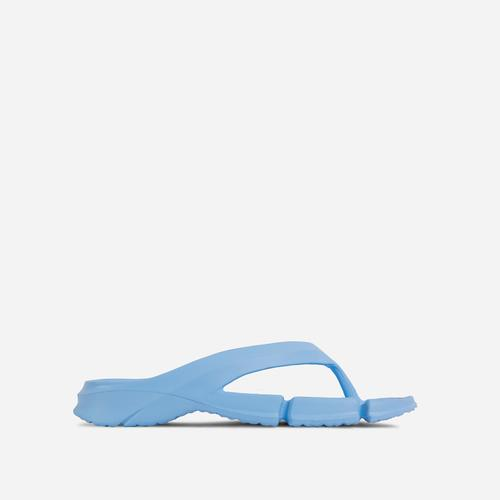 Remedy Thong Strap Cleated Sole Flat Slider Sandal In Blue Rubber