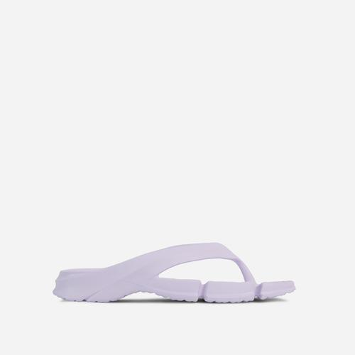 Remedy Thong Strap Cleated Sole Flat Slider Sandal In White Rubber