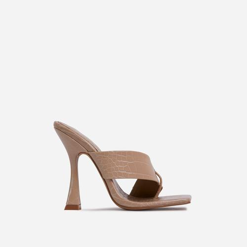 Emotion Cross Strap Square Toe Flared Heel Mule In Nude Croc Print Faux Leather