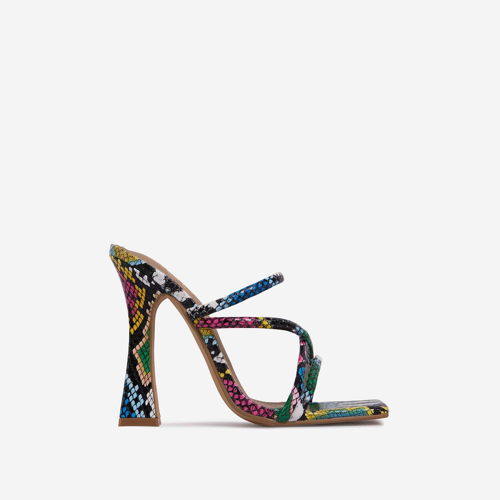 Wonder Strappy Detail Square Toe Flared Block Heel Mule In Multi Snake Print Faux Leather