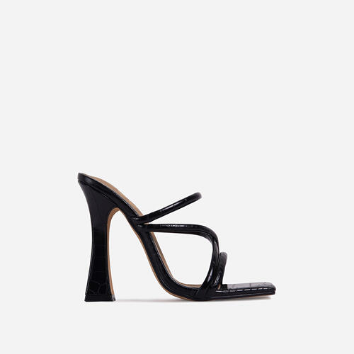Wonder Strappy Detail Square Toe Flared Block Heel Mule In Black Croc Print Faux Leather