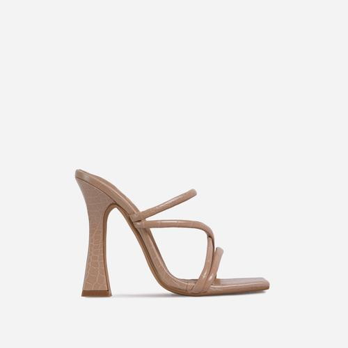 Wonder Strappy Detail Square Toe Flared Block Heel Mule In Nude Croc Print Faux Leather