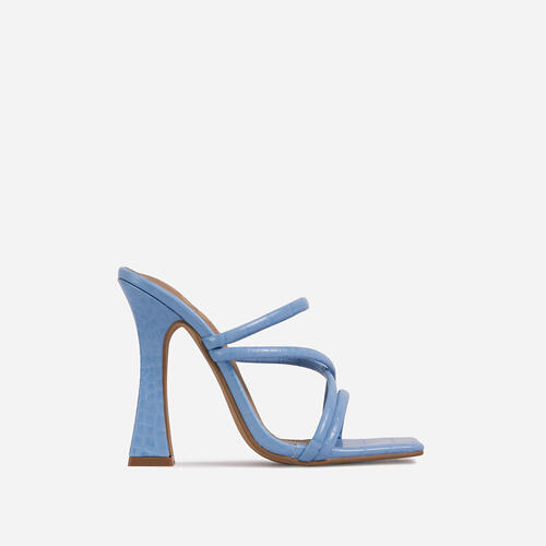 Wonder Strappy Detail Square Toe Flared Block Heel Mule In Blue Croc Print Faux Leather