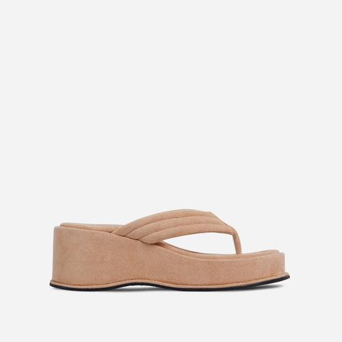 Flex Thong Strap Flatform Sandal In Nude Faux Suede
