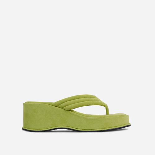Flex Thong Strap Flatform Sandal In Bright Green Faux Suede