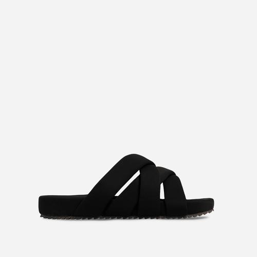 Kindered Woven Detail Strap Flat Slider Sandal In Black Lycra