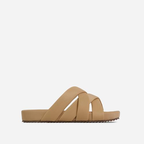 Kindered Woven Detail Strap Flat Slider Sandal In Nude Lycra