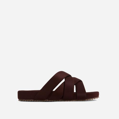 Kindered Woven Detail Strap Flat Slider Sandal In Brown Lycra