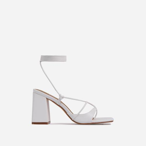 Take-Off Lace Up Square Toe Low Block Heel In White Faux Leather